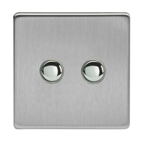 Varilight IJDSS002S Screwless Brushed Steel 2 Gang Touch Dimming Slave (use only with Master)